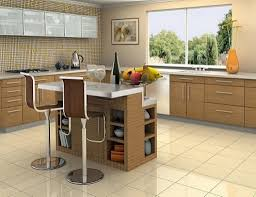 Spacious Modern Kitchen Design With Wooden Cabinetry And Cream Backsplash  With Frostedglass Upper Cabinet With Small