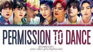 BTS - Permission to Dance Lyrics (Color ...