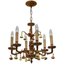 chandelier with porcelain flowers for