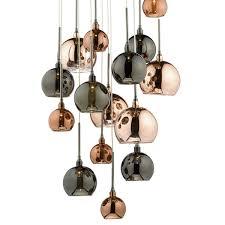 black aurelia 15 light g4 spiral pendant with copper dark copper bronze glass black