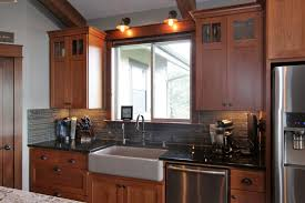 69 types familiar square recessed panel cabinet door kitchen craftsman style cherry medium color glass grid at the top farm sink a tall full overlay jpg