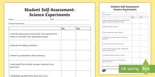 Student Self Assessment Science Experiment Worksheet Activity Sheet