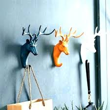sticky wall hooks cool animal hanging coats for creative deer head unique coat anchor target decorative cool wall hooks