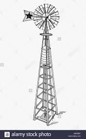 farm windmill drawing. Water Pumping Windmill. Antique Drawing, Ca. 1900. - Stock Image Farm Windmill Drawing 7