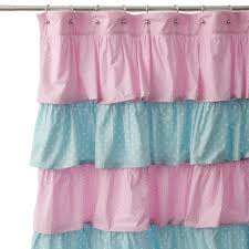 image of pink and blue ruffle curtains