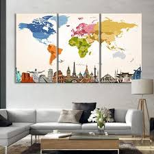 >vintage colors world map masterpiece multi panel canvas wall art  vintage colors world map masterpiece multi panel canvas wall art