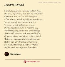 sonnet to a friend poem by charles lamb