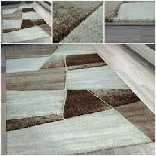 modern thick short pile carpet in beige geometric pattern large living space rug