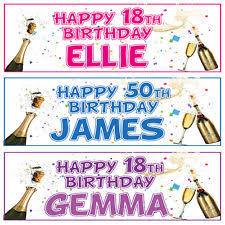 happy birthday banners personalized personalised banner ebay