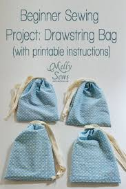 easy beginner sewing projects drawsting bag with printable instructions