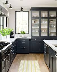 yellow striped rug and dark grey cabinet for enchanting kitchen ideas with white wall color
