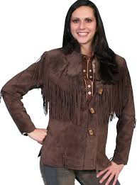 scully frontier chocolate boar suede womens fringe coat
