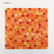 1035a a square stained glass mosaic orange