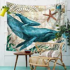 marine animal nordic style tapestry wall hanging beach towel art carpet decorative tapestry 130x150cm cod