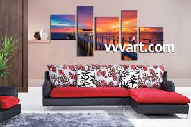 Wall Art Paintings For Living Room 5 Piece Ocean Orange Canvas Photography