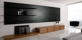 Graceful White Living Room With Black Wooden Wall Unit As Shelves Idea