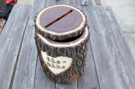 this card box is made from real wood and is sure to capture the imagination of your guests the log section was trimmed up and hollowed on a bandsaw