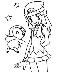 Pokemon Paradijs Kleurplaat Piplup En Dawn
