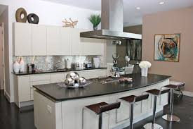 impressing kitchen island seating. Impress Kitchen Island And Countertop With Modern Black Barstools Also Hood Tin Backsplash Impressing Seating S