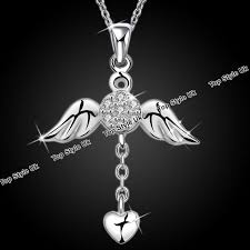 details about angel wings necklace heart pendant silver diamond gift for her women wife mum c3