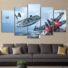5 panels millennium falcon x wing star wars canvas painting frame wall art prints home on star wars canvas panel wall art with 5 panels millennium falcon x wing star wars canvas painting frame