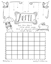 April Coloring Page Calendar Sheet For Kids Cardboard Paper Within