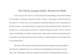 the odyssey passage analysis descent into hades the passage is  document image preview
