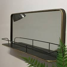 mirror with shelf. industrial metal wall mirror shelf - the farthing with e