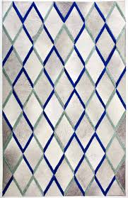 diamond blue white modern leather area rug jpg