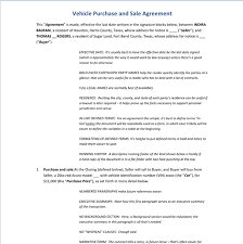 Purchase Template For Vehicle Agreement, Example Of Vehicle Purchase ...