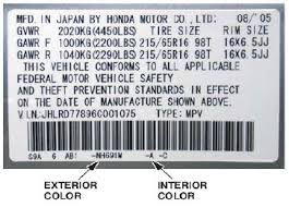 Honda Civic Color Code Chart Hondafloormats Com Selecting Colors