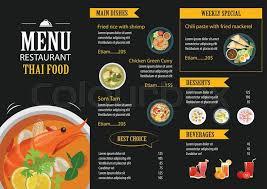 Food Menu Design Vector Thai Food Restaurant Menu Stock Vector Colourbox