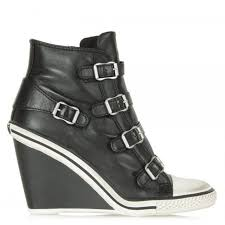 ash thelma black leather hi top wedge trainers