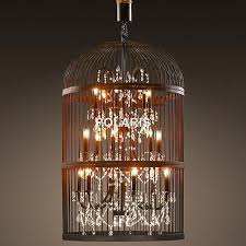 cage light chandelier vintage rustic birdcage crystal lighting black bird pendant hanging chandeliers lamp for