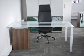 glass home office desk. Office Modern Designer Glass Desks Cool Interior Design Home Decorations Chair Black Wooden Stained Varnished Desk