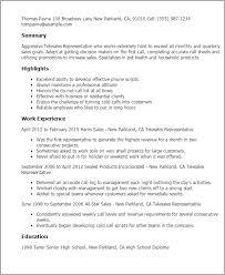 Resume Templates: Telesales Representative