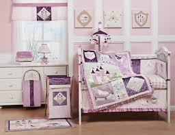 baby room ideas in purple theme also simple white framed bedding and colorful blanket plus charming table lamp baby girl furniture ideas