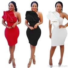 Designer One Shoulder Cocktail Dresses 2018 One Shoulder White Black Red African Women Party Cocktail Dresses Knee Length Ruffle Cheap Short Formal Evening Gown Designer Gowns Little Black