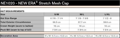 New Era Size Chart Us New Era Stretch Mesh Cap