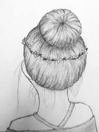 How To Draw Girl Shirts How To Hair Draw Bun Messy Flower Girl Back Sketch Drawing