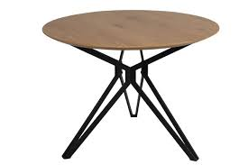 customized casual round metal table mdf covered by paper veneer wild oak with powder coated frame manufacturers and suppliers vintage