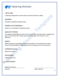 Minutes Document Template 13 Meeting Minutes Templates Word Excel Pdf Templates Www