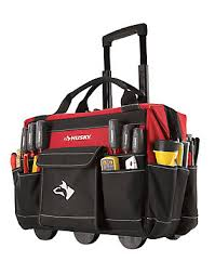 husky tool pouches. 18-inch rolling tool tote husky pouches