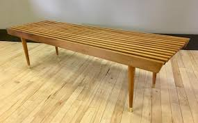 wood slat coffee table bench danish
