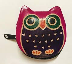 details about shantiniketan hippie bohemian india painted leather owl coin purse pink