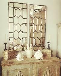 decorative pair of antique window frame mirror
