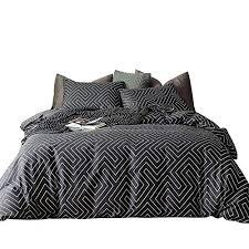 white maze geometric striped bedding