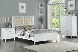 Poundex F9427F 3 pc white finish wood upholstered panel bed full size bedroom set