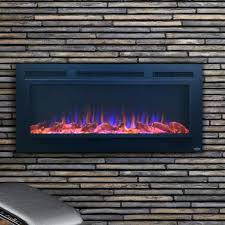 touchstone home products sideline 50 inch wall mount flush mount electric fireplace with steel