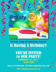 Birthday Party Invitation February 23rd Rotary Club Of Nashoba